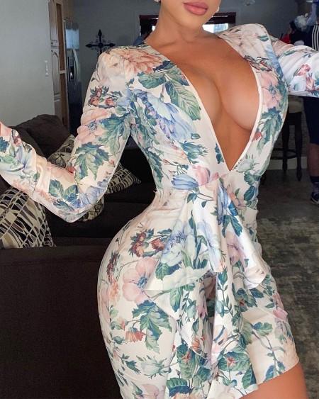 Floral Print Deep V Neck Open Back Mini Dress