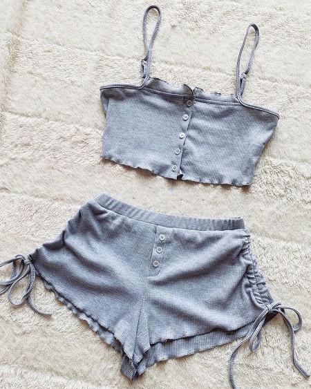 Frill Hem Buttoned Crop Top & Drawstring Shorts Set