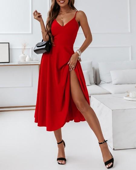 Sleeveless V Neck Ruched Party Dress