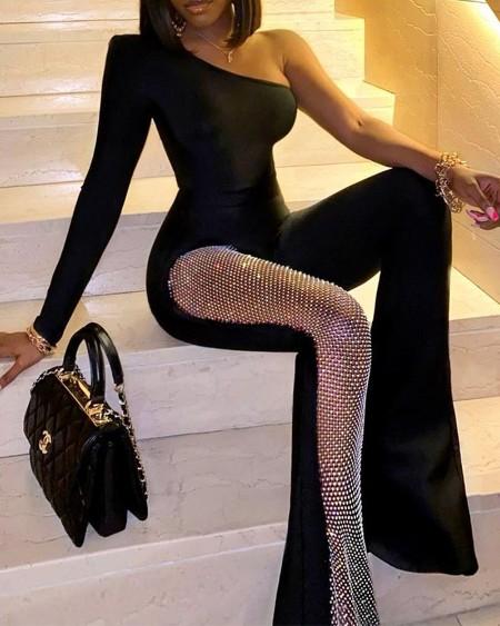 Solid Elegant One Long Sleeves Shoulder Studded Flared Leg Skinny Jumpsuit