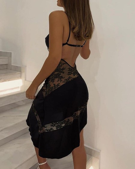Lace Sheer Mesh Frill Hem Backless Party Dress
