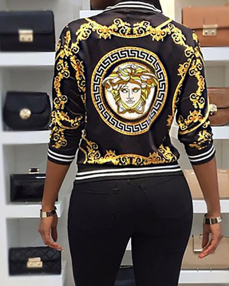 Long Sleeve Printed White Binding Casual Jacket