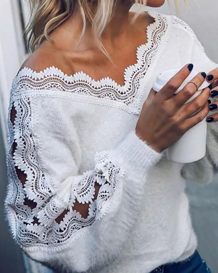 Fluffy Patchwork Embroidery Hollow Out Sweater