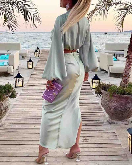 Solid Long Sleeve Blouse With Slit Skirts Suit Sets