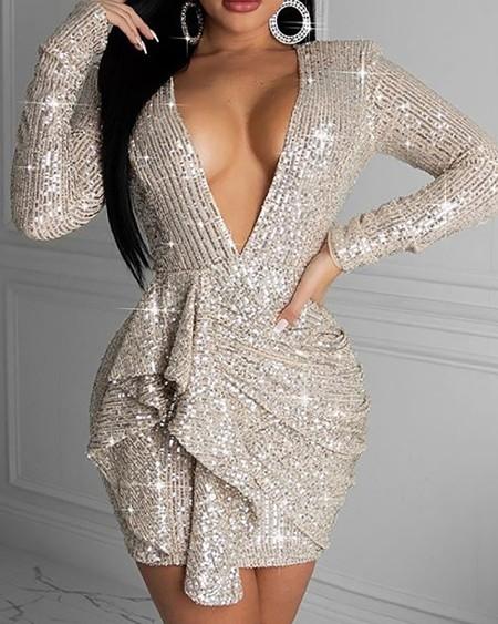 Cutout Back Ruffles Sequins Party Dress