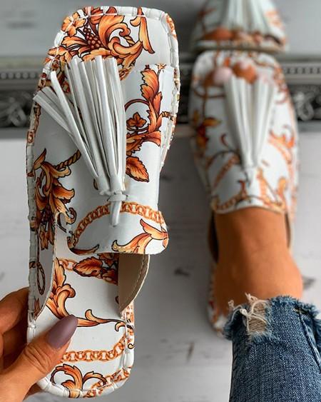 Scarf Print Tassel Design Square Toe Flat Sandals