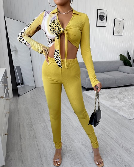 Leopard Print Knotted Top & High Waist Pants Set