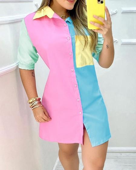 Button Front Pocket Design Colorblock Shirt Dress