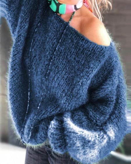 Lantern Sleeve Chunky Knit Sweater