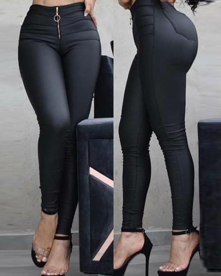 PU Zipper Fly Skinny Pants