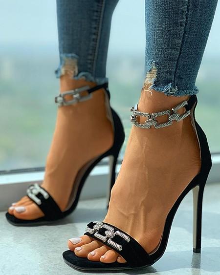 Chain Decor Square Toe Stiletto Heels