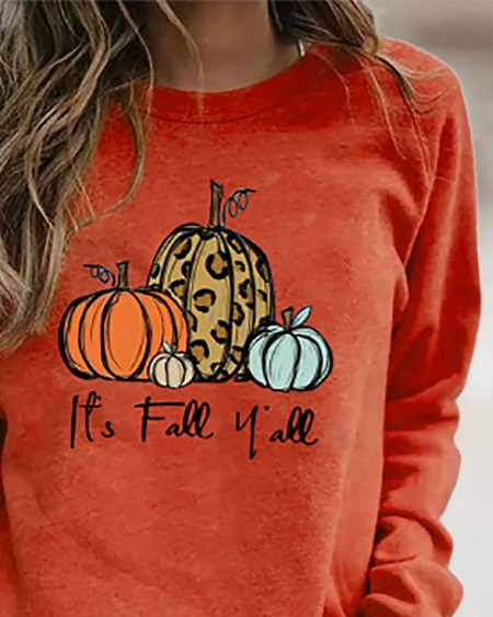 Halloween Letter Pumpkin Print Long Sleeve Sweatshirt