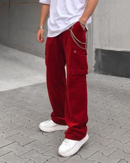 Solid Corduroy Pockets Loose Carpenter Pants