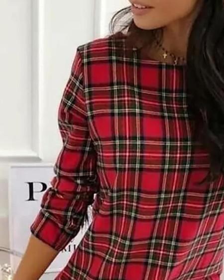 Plaid Pattern Long Sleeve Ruffles Casual Women Dress