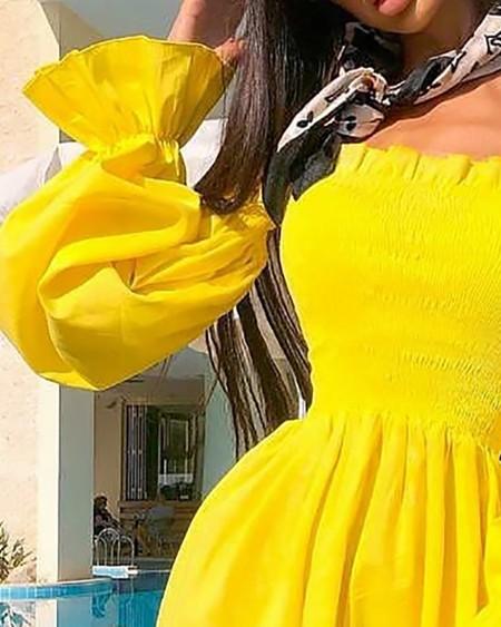Off Shoulder Frill Hem Shirred Dress