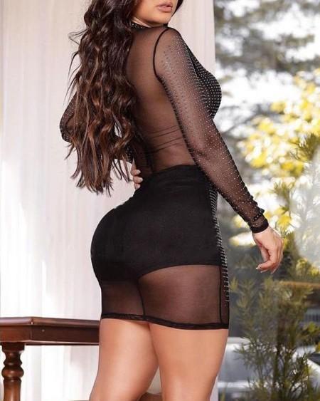 Rhinestone Long Sleeve Sheer Mesh Bodycon Dress