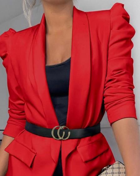 Puff Sleeve Pocket Decor Ruched Blazer Coat