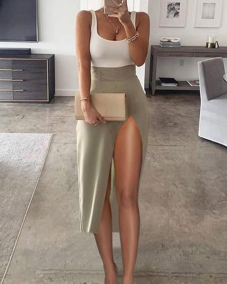 Tank Top & High Slit Midi Skirt Set