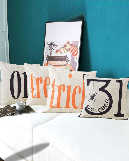 Halloween Pillow Covers Trick or Treat Cotton Linen Decorative Throw Pillow Cases for Sofa/Window/Home Décor/Room/Car