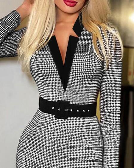 Houndstooth Print Long Sleeve Belted Work Dress