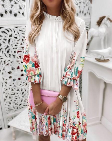 Floral Print Ruffle Trim Pleated Dress