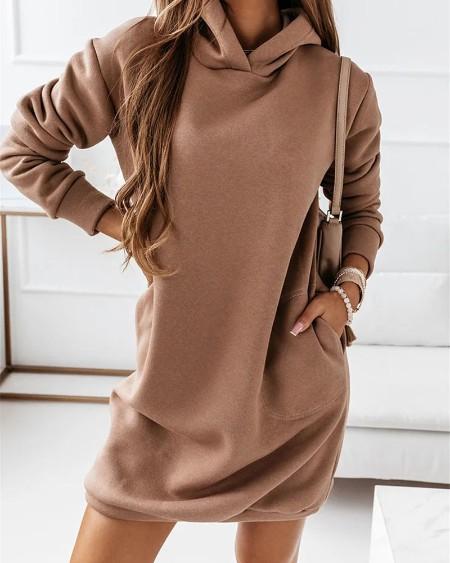 Long Sleeve Pocket Detail Hooded Sweatshirt Dress
