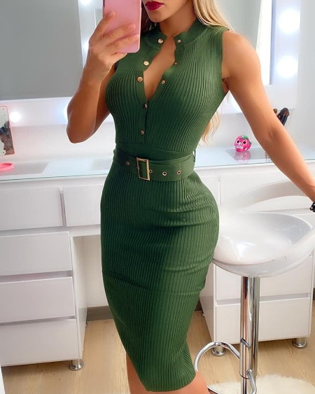 Knit Sleeveless Button Design Skinny Dress