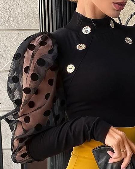 Dot Mesh Puff Sleeve Button Decor Top
