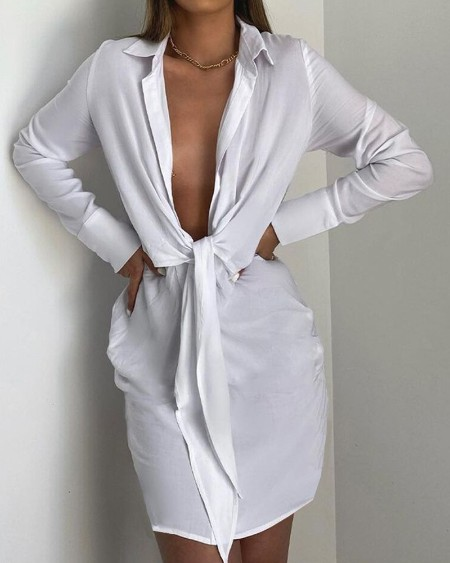 Solid Plunging Knot Front Shirt Dress
