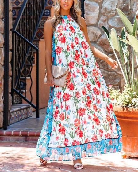 Floral Print Sleeveless Loose Maxi Dress