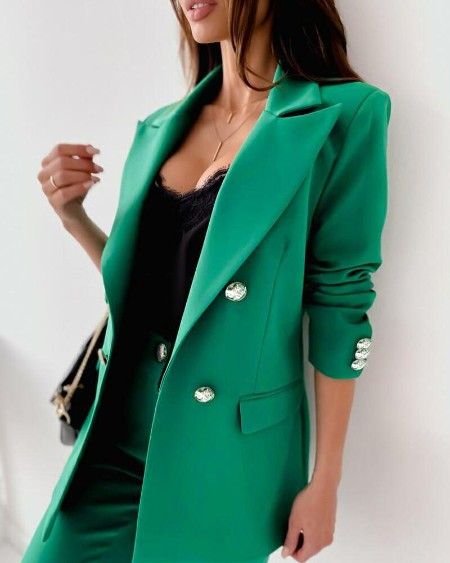 Long Sleeve Double Breasted Flap Detail Blazer