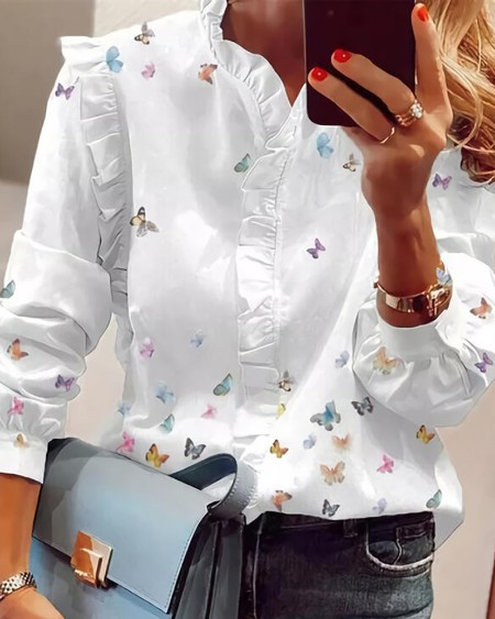 Butterfly Print V-Neck Long Sleeves Casual Blouse