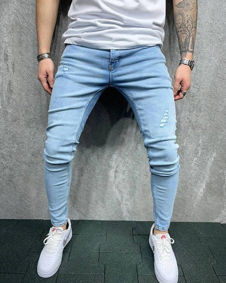 Solid Color Skinny Ripped Patchwork Jeans