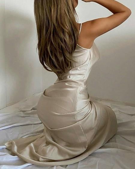 Solid Color Sling Slit Satin Maxi Dress