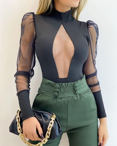 Mesh Puff Sleeve Cutout Front Bodysuit