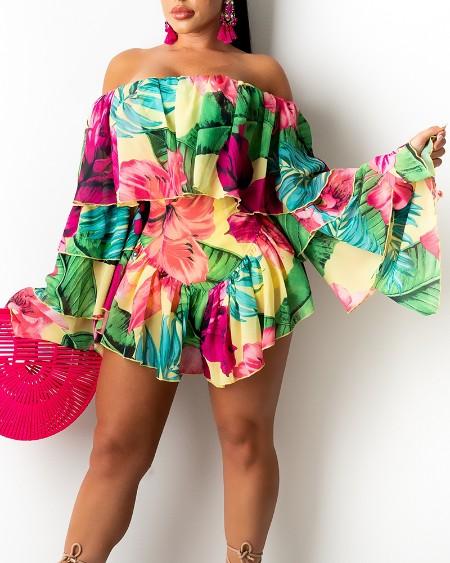 Floral Print Flared Sleeves Ruffle Hem Mini Dress