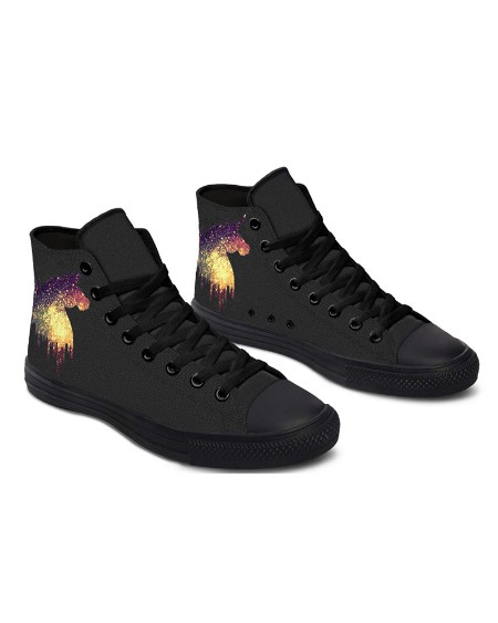 Womens Unicorn Print Lace-up High Top Canvas Casual Shoes