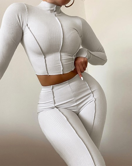 Long Sleeve Top & High Waist Skinny Pants Set