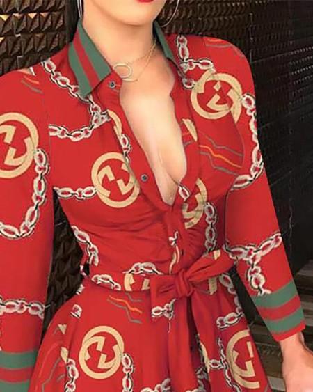 Mixed Print Buttoned Long Sleeve Ruffles Dress