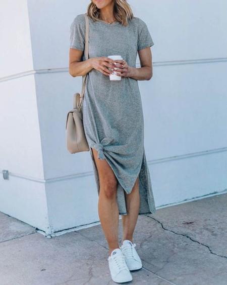 Round Neck Short Sleeve Casual Dress