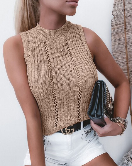 Solid Color Hollow-out Sleeveless Knitted Tank Top