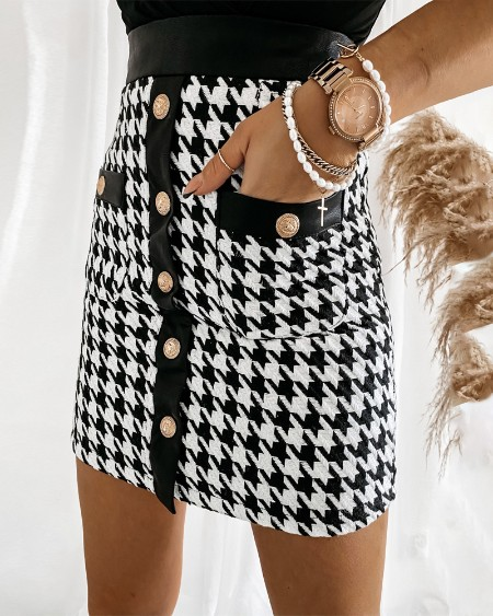 Houndstooth Print Button Front Tweed Skirt