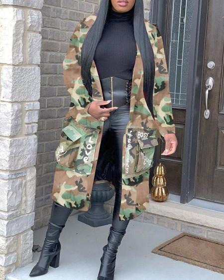 Letter Print Camouflage Pocket Design Longline Coat