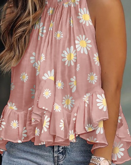 Daisy Print Layered Ruffles Sleeveless Top
