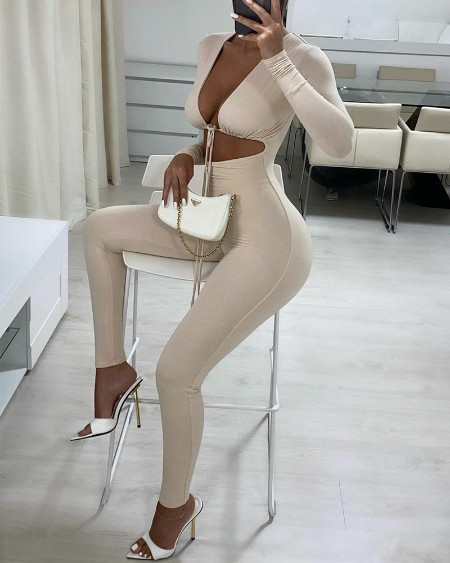 Solid Color Cut-Out Crop Skinny Jumpsuit