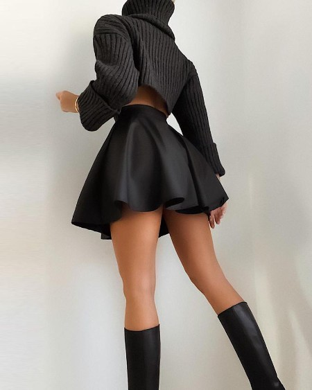 High Waist Ruched PU Leather Skirt