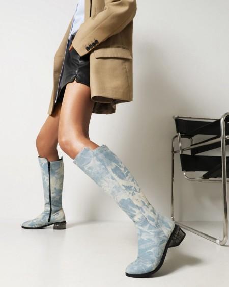 Womens Vintage Round Toe Zipper Long Boots