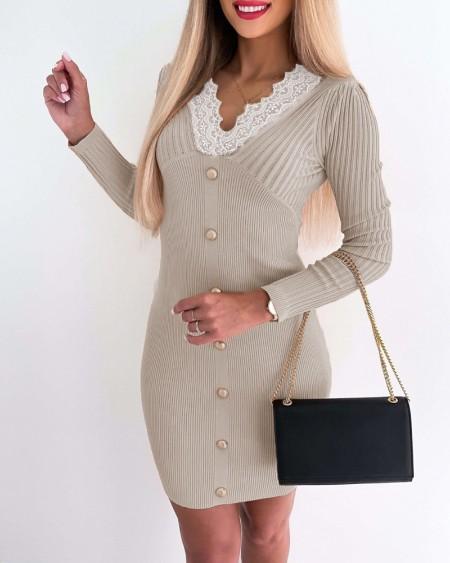 Knit Button Decor Lace Patch Bodycon Dress