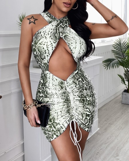 Crisscross Halter Cutout Ruched Drawstring Bodycon Dress