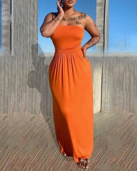 Off Shoulder Plain Ruched Backless Maxi Dress